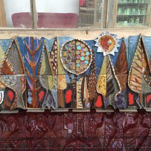 Magnifique fresque en céramique circa 1980