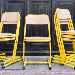 Série de 6 chaises jaune en métal années 80/90