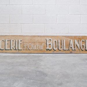 Ancienne enseigne en bois «Epicerie Boulangerie P.Charial»