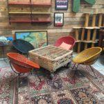 Set de 4 fauteuils colorés années 60 en rotin