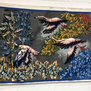 Très belle tapisserie «Flamands roses» par Robert Debièvre