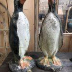 Couple de pingouins en béton
