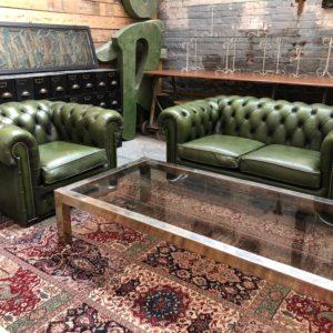 Salon chesterfield vintage en cuir vert anglais