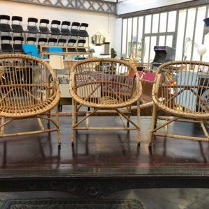 Set de 3 fauteuils en rotin années 60