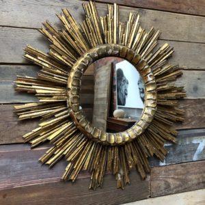 Ancien double miroir soleil en bois doré