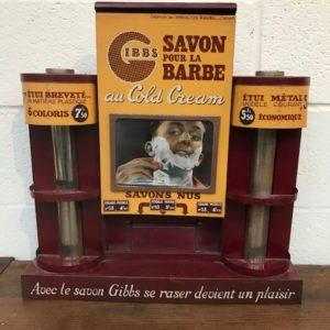 Ancien présentoir de savon à barbe Gibbs