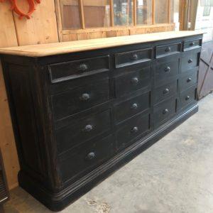 Meuble de métier en chêne 12 tiroirs patiné noir