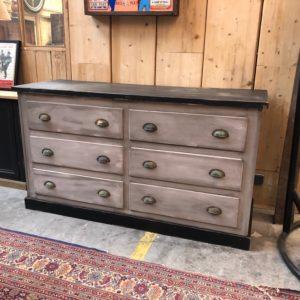 Ancien meuble de métier patine grise 6 tiroirs