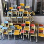 Lot de petites chaises d'écoles années 70