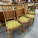 Suite de 4 chaises en bambou années 8O