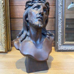 Tête de Christ en Galvanoplastie sur terre cuite