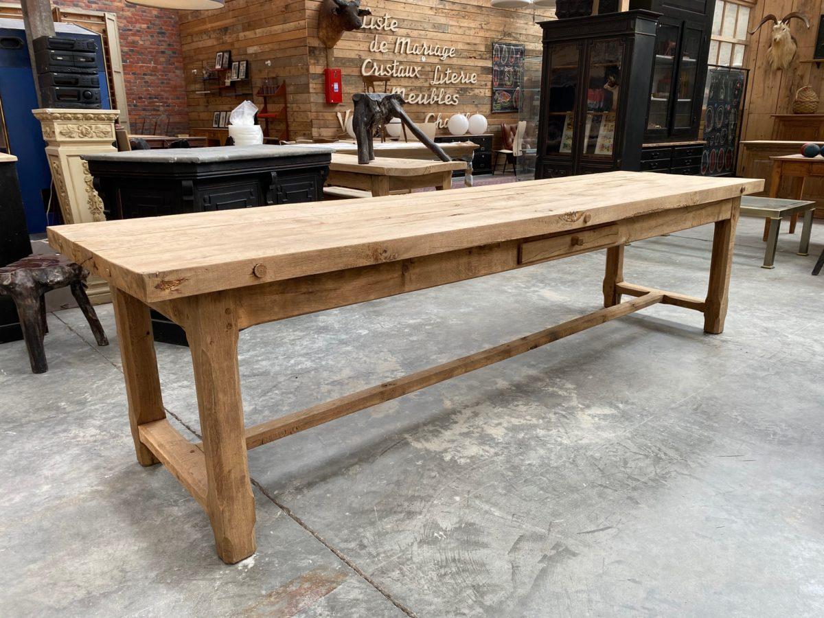 Ancienne grande table de ferme en chêne   Nord Factory